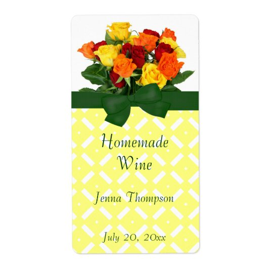 Colourful Roses Homemade Wine Label Shipping Label