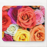 Colourful Roses Pattern Mouse Pad