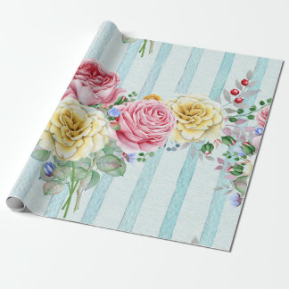 Colourful Roses Pattern Wrapping Paper