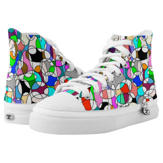 colourful round geometrics high top sneakers