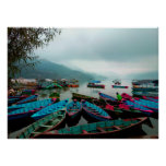 Colourful Row Boats on Phewa Lake in Pokhara Nepal Poster