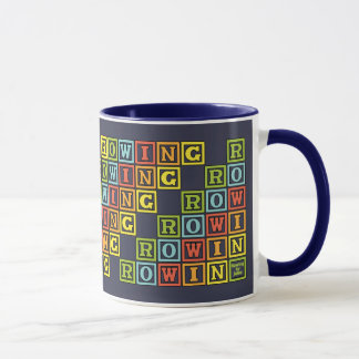 Colourful rowing letters navy mug