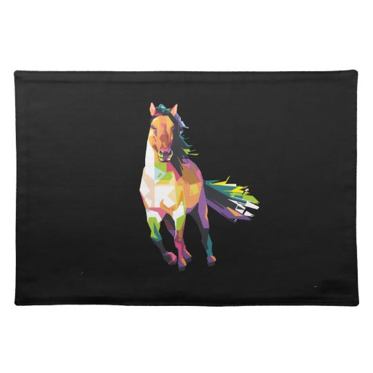 Colourful Running Horse Stallion Equestrian Placemat