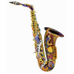 Colourful Saxophone Piano Table Sculpture