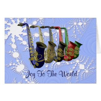 Colourful Saxophones Snow Flakes Christmas Card