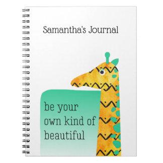 Colourful Scandinavian Style Giraffe Spiral Notebook