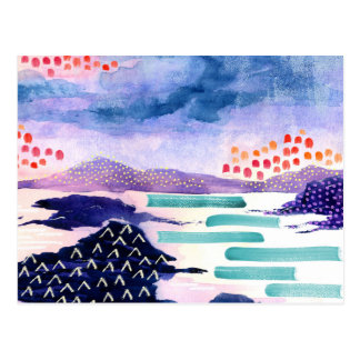 Colourful Scottish Watercolour Painting Postcard