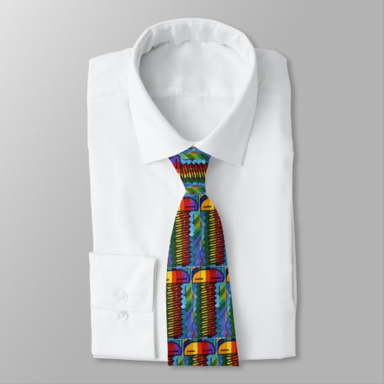 Colourful screws tile pattern Tie
