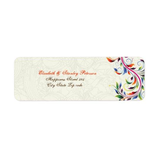 Colourful scroll leaf on ecru wedding label
