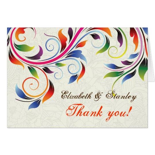 Colourful scroll leaf on ecru wedding Thank You Card