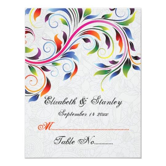 Colourful scroll leaf on grey wedding place card