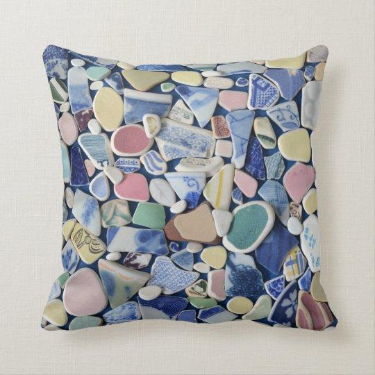 Colourful sea glass beach pottery photo square cushion