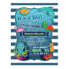 Colourful Sea Life Boy Baby Shower Invitation Postcard