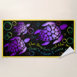 Colourful Sea Turtle Design Beach Towel