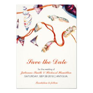 Colourful Seashells | Rustic Beach Save the Date 13 Cm X 18 Cm Invitation Card