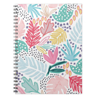 Colourful Shapes Tropical Pattern Spiral Notebook