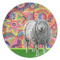 Colourful Sheep Art Plate