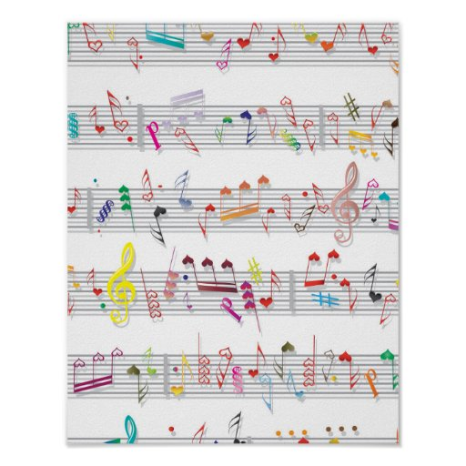 Colourful Sheet Music Notes Poster