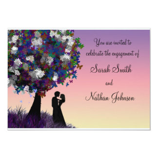 Colourful Silhouette Engagement Invitation
