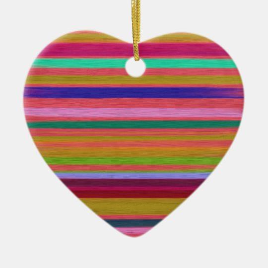 Colourful Silk Stripes Textile Art Design Christmas Ornament