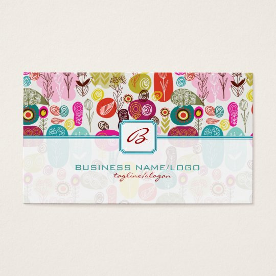 Colourful Simple Hand Drawn Retro Business Card