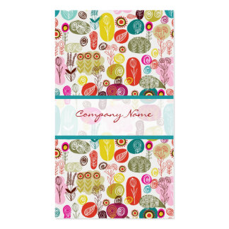 Colourful Simple Hand Drawn Retro Flowers Pattern  Business Card Template