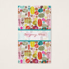 Colourful Simple Hand Drawn Retro Flowers Pattern Business Card