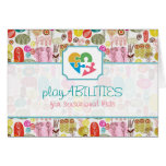 Colourful Simple Hand Drawn Retro Flowers Pattern Note Card