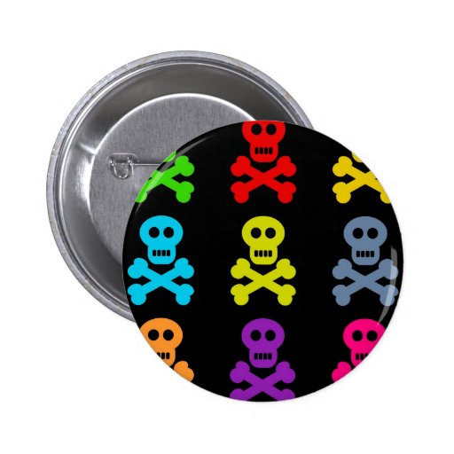 Colourful Skulls Pinback Button
