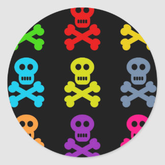 Colourful Skulls Round Sticker
