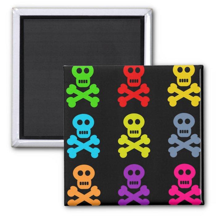 Colourful Skulls Square Magnet