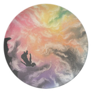 colourful sky dive plate