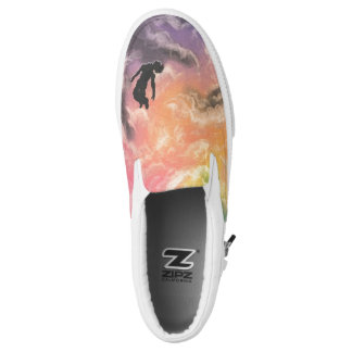 colourful sky dive printed shoes