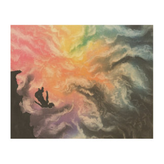 colourful sky dive wood print