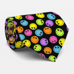 Colourful Smiley Faces on Black Double-sided Tie
