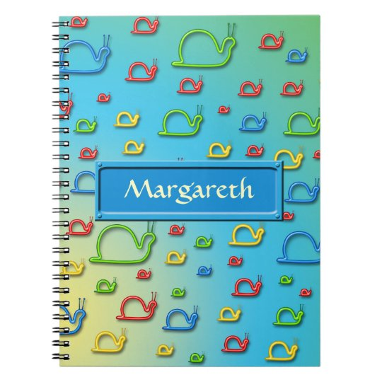 Colourful snails everywhere spiral notebook
