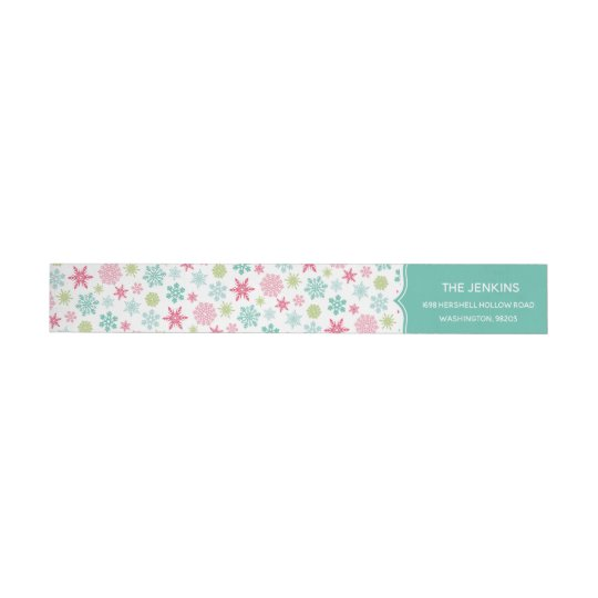 Colourful Snowflakes Christmas Address Label