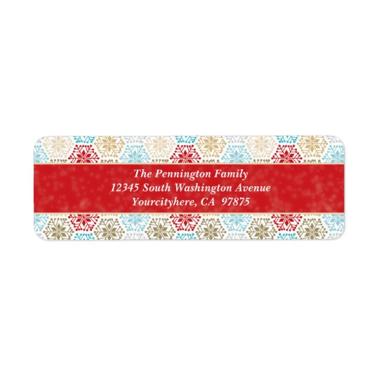 Colourful snowflakes christmas return address return address label