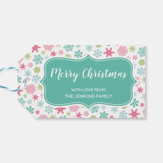 Colourful Snowflakes Winter Christmas Gift Tag