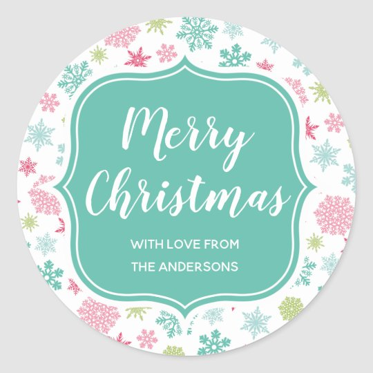 Colourful Snowflakes Winter Wonderland Christmas Classic Round Sticker