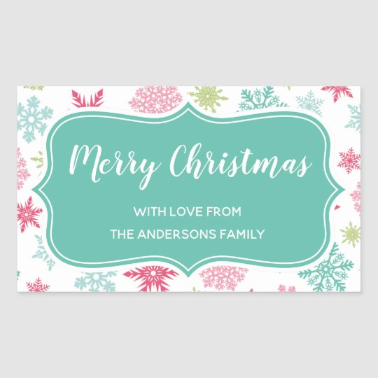 Colourful Snowflakes Winter Wonderland Christmas Rectangular Sticker
