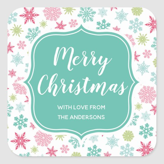 Colourful Snowflakes Winter Wonderland Christmas Square Sticker