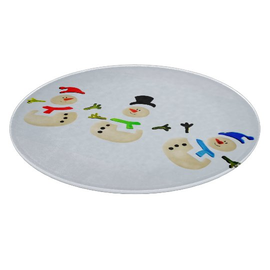 Colourful Snowman Christmas Parade Holiday Cutting Board