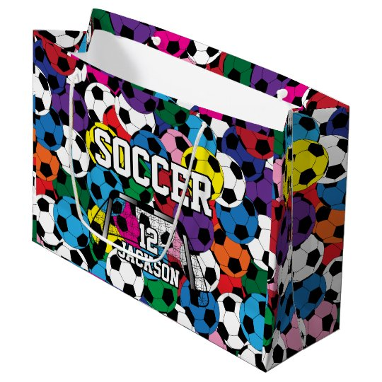 Colourful Soccer Ball Collage Large Gift Bag