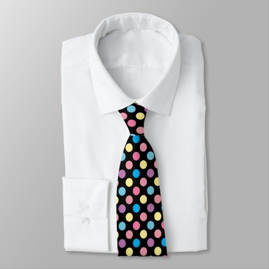 Colourful Soft Pastel Colours Polka Dots Pattern Tie