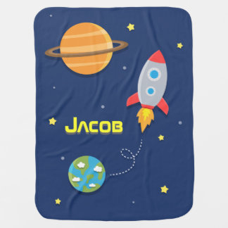 Colourful, Space Rocket Ship, For Baby Boys Baby Blanket