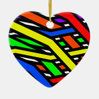 Colourful Spaghetti Ceramic Heart Decoration