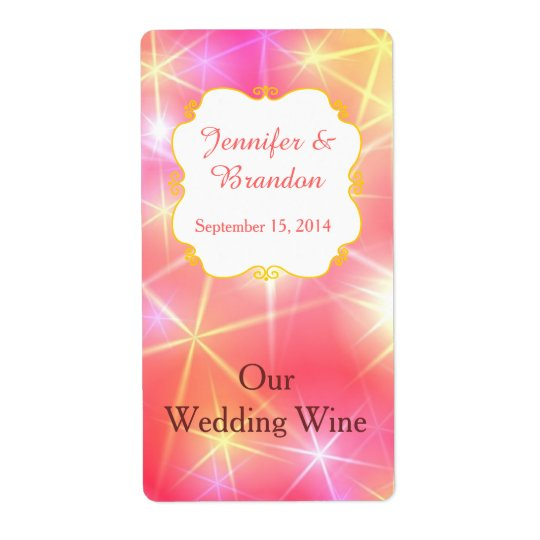 Colourful Sparkles Custom Wedding Mini Wine Label Shipping Label