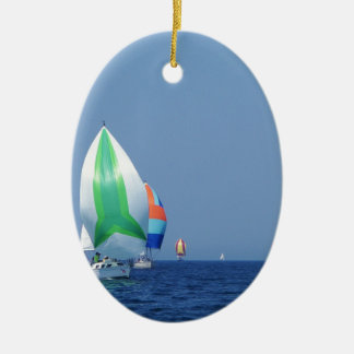 Colourful Spinnakers Ceramic Oval Decoration