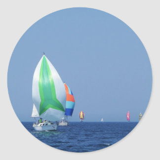 Colourful Spinnakers Classic Round Sticker